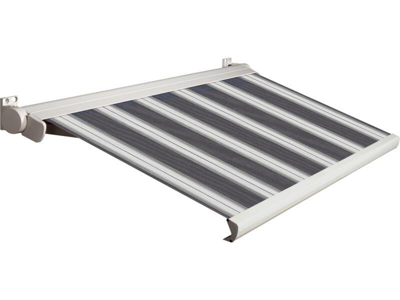 Domasol tente solaire électrique F20 500x300 cm + télécommande rayures noir-blanc et armature blanc crème