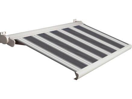 Domasol tente solaire électrique F20 500x300 cm rayures noir-blanc et armature blanc crème