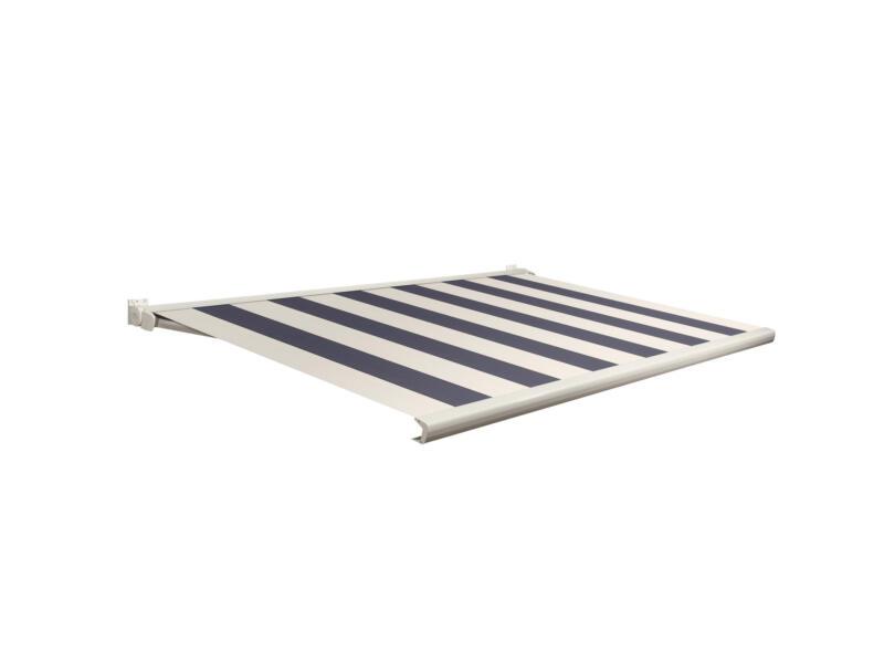 Domasol tente solaire électrique F20 550x250 cm + télécommande rayures bleu-crème et armature blanc crème
