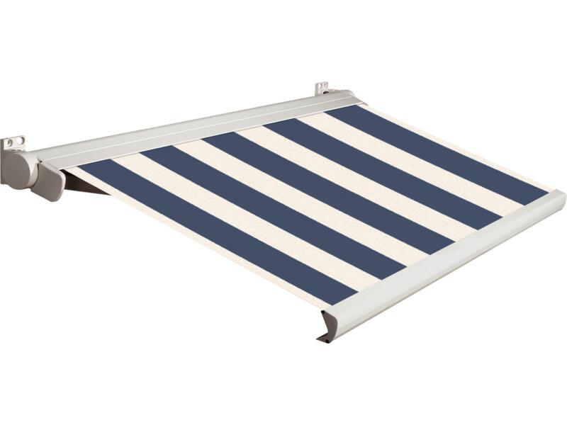 Domasol tente solaire électrique F20 550x250 cm fines rayures bleu-blanc et armature blanc crème