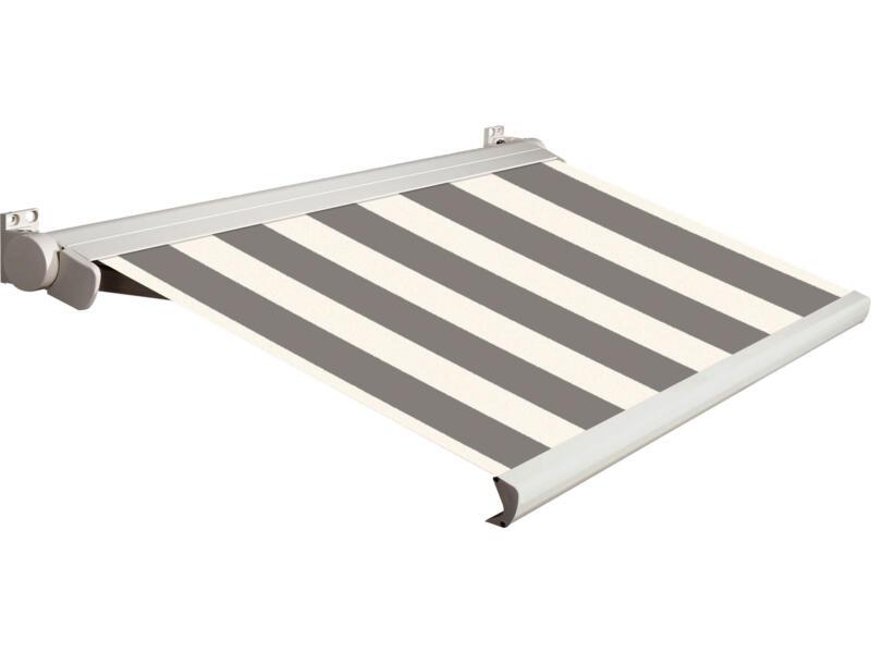 Domasol tente solaire électrique F20 550x250 cm fines rayures noir-blanc et armature blanc crème