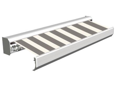 Domasol tente solaire électrique F30 400x300 cm + télécommande rayures fines noir-blanc et armature blanc crème