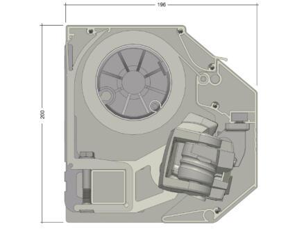Domasol tente solaire électrique F30 400x300 cm fines rayures bleu-blanc et armature blanc crème