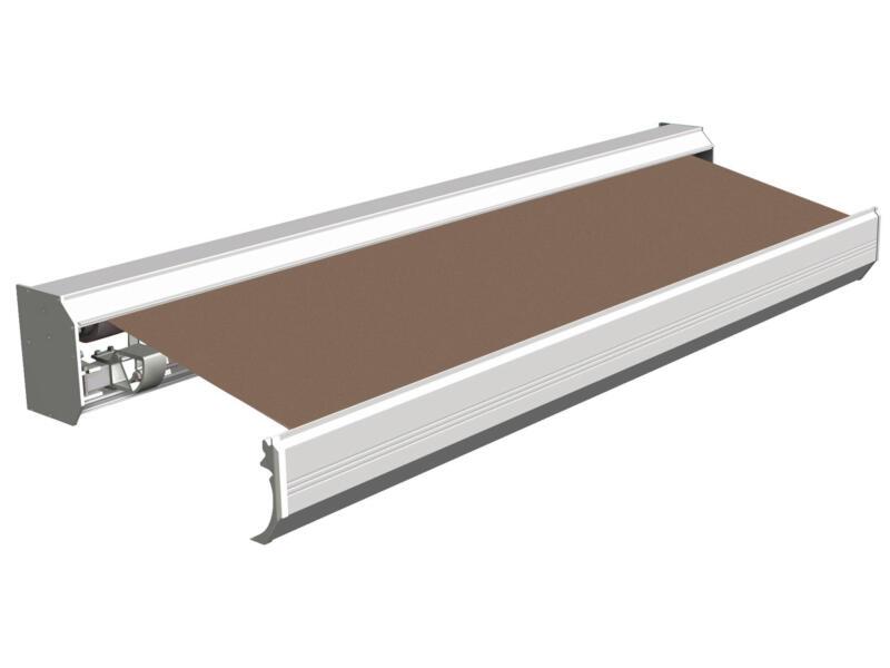 Domasol tente solaire électrique F30 450x300 cm + télécommande brun clair et armature blanc crème
