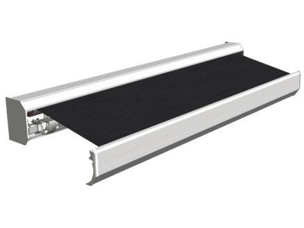 Domasol tente solaire électrique F30 450x300 cm + télécommande brun foncé et armature blanc crème