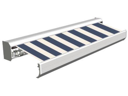 Domasol tente solaire électrique F30 450x300 cm fines rayures bleu-blanc et armature blanc crème