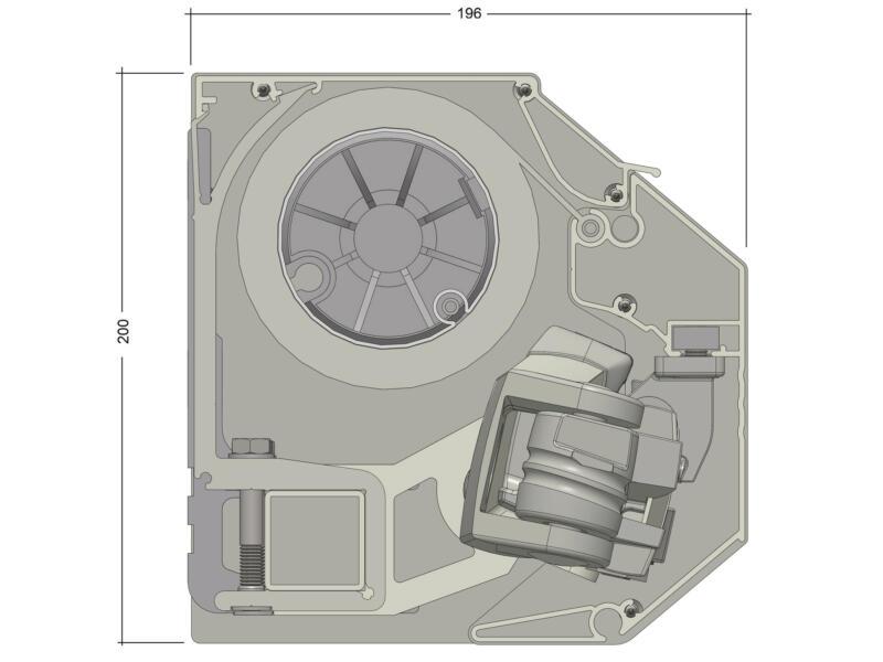 Domasol tente solaire électrique F30 450x300 cm fines rayures noir-blanc et armature blanc crème