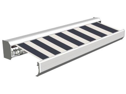 Domasol tente solaire électrique F30 450x300 cm larges rayures noir-blanc et armature blanc crème
