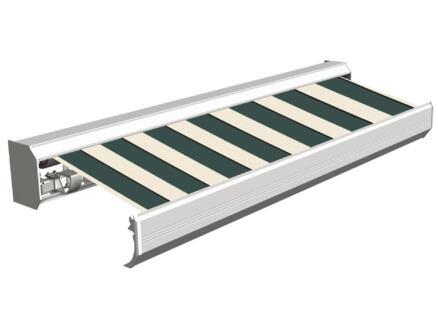 Domasol tente solaire électrique F30 500x300 cm larges rayures vert-blanc et armature blanc crème
