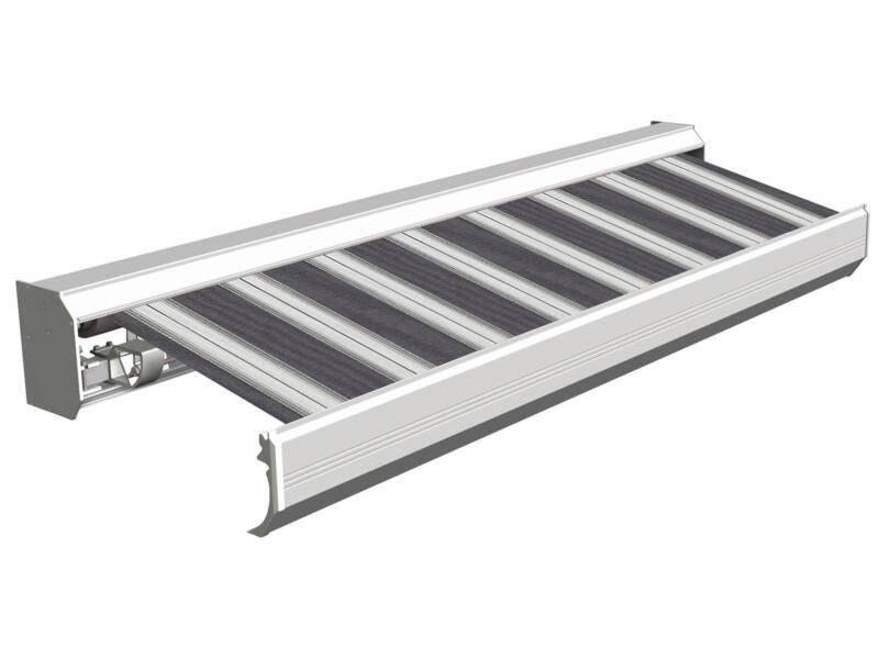 Domasol tente solaire électrique F30 550x300 cm + télécommande rayures noir-blanc et armature blanc crème