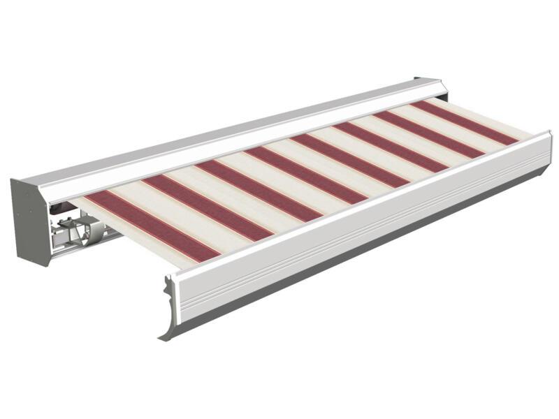 Domasol tente solaire électrique F30 550x300 cm + télécommande rayures rouge-blanc et armature blanc crème