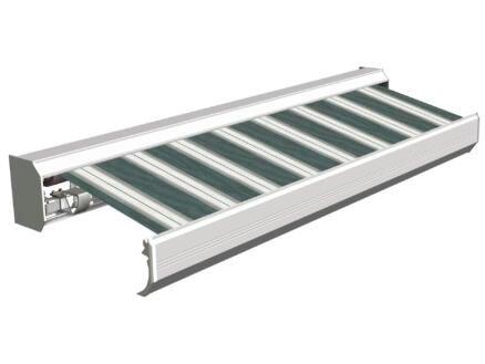 Domasol tente solaire électrique F30 550x300 cm + télécommande rayures vert-blanc et armature blanc crème
