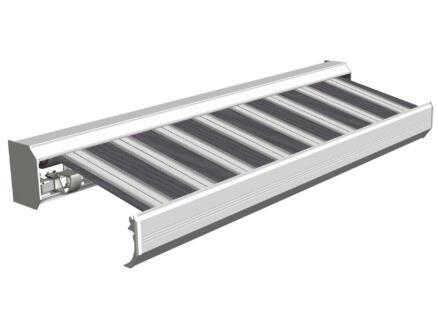 Domasol tente solaire électrique F30 600x300 cm rayures noir-blanc et armature blanc crème