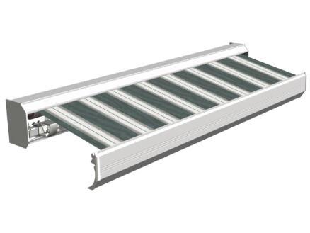Domasol tente solaire électrique F30 600x300 cm rayures vert-blanc et armature blanc crème