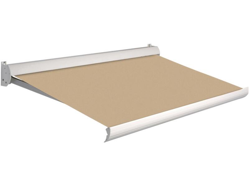 Domasol tente solaire manuel F10 300x250 cm beige et armature blanc crème