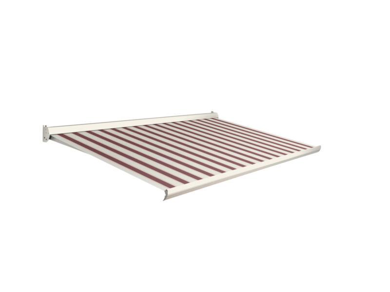Domasol tente solaire manuel F10 450x300 cm rayures rouge-blanc et armature blanc crème