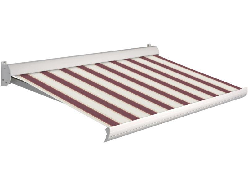 Domasol tente solaire manuel F10 500x250 cm rayures rouge-blanc et armature blanc crème