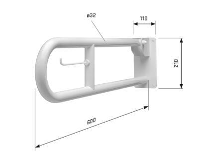 Secucare toiletbeugel 60cm opklapbaar wit
