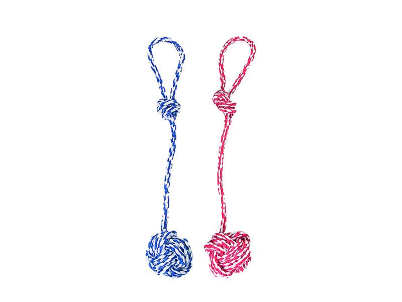 Flamingo touw met knoopbal 57cm katoen beschikbaar in 3 kleuren