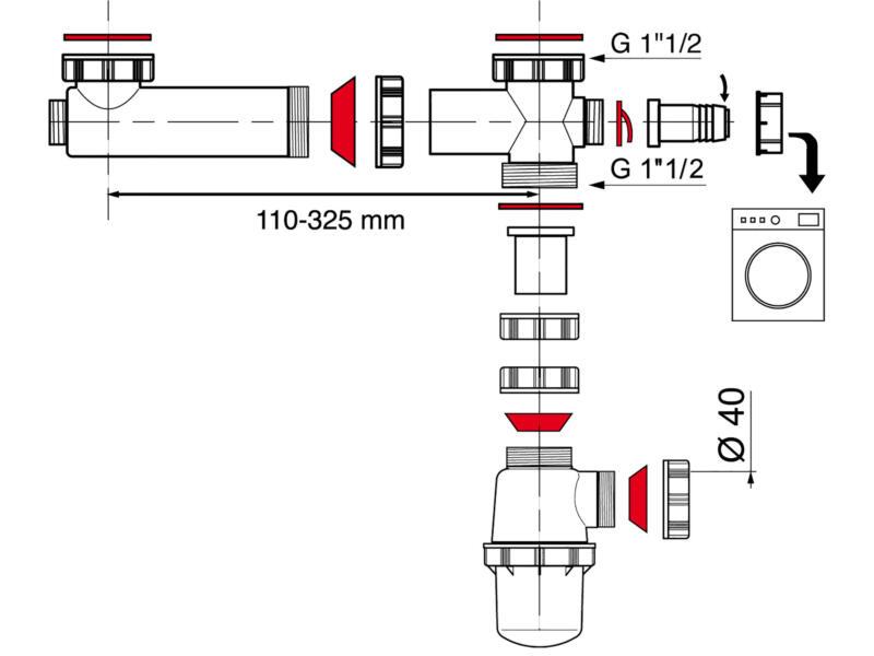Wirquin tubulure de raccordement évier double et siphon 40mm