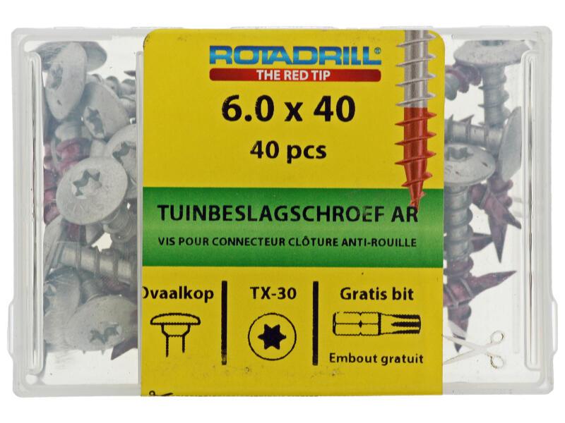 Rotadrill tuinbeslagschroef TX30 40x6 mm 40 stuks