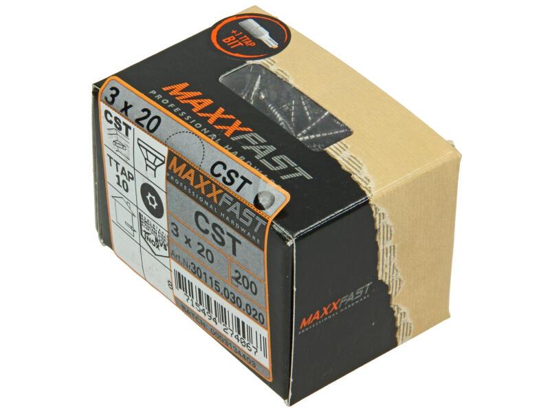 Maxxfast universele houtschroeven CST 3x20 mm inox 200 stuks