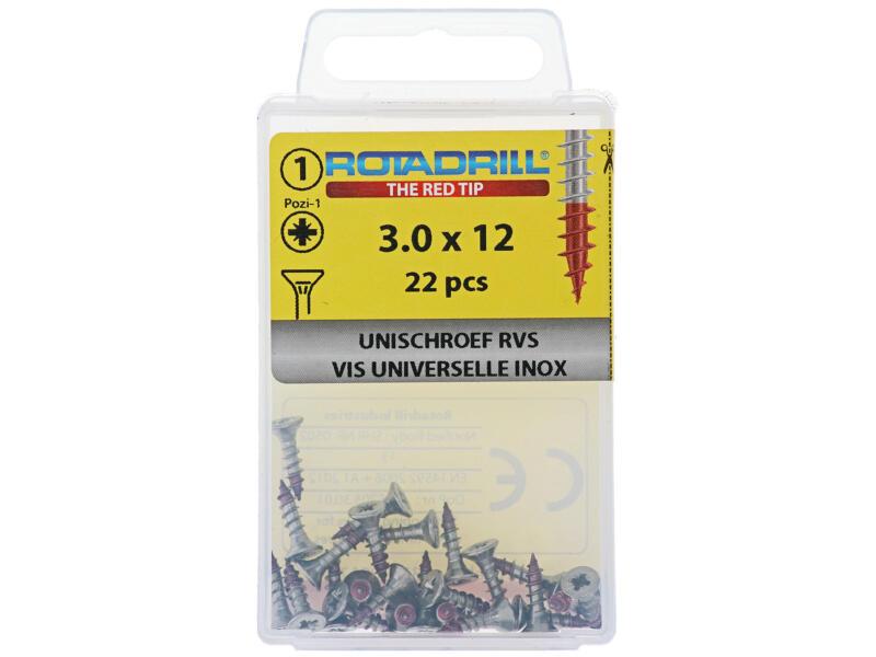 Rotadrill universele schroeven PZ1 3x12 mm inox 22 stuks