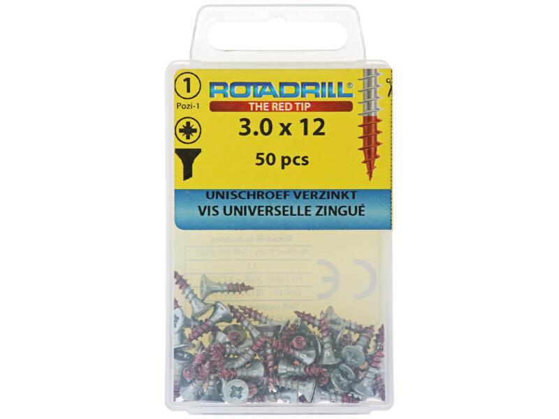 Rotadrill universele schroeven PZ1 3x12 mm verzinkt 50 stuks