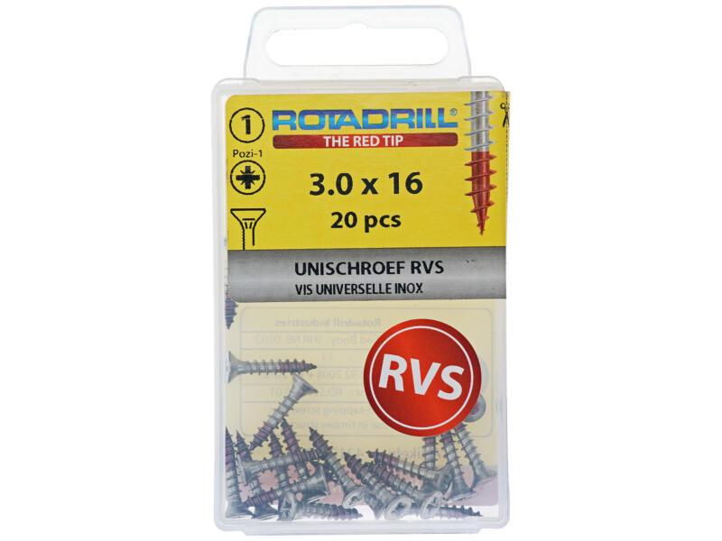 Rotadrill universele schroeven PZ1 3x16 mm inox 20 stuks