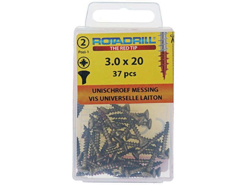 Rotadrill universele schroeven PZ1 3x20 mm messing 37 stuks