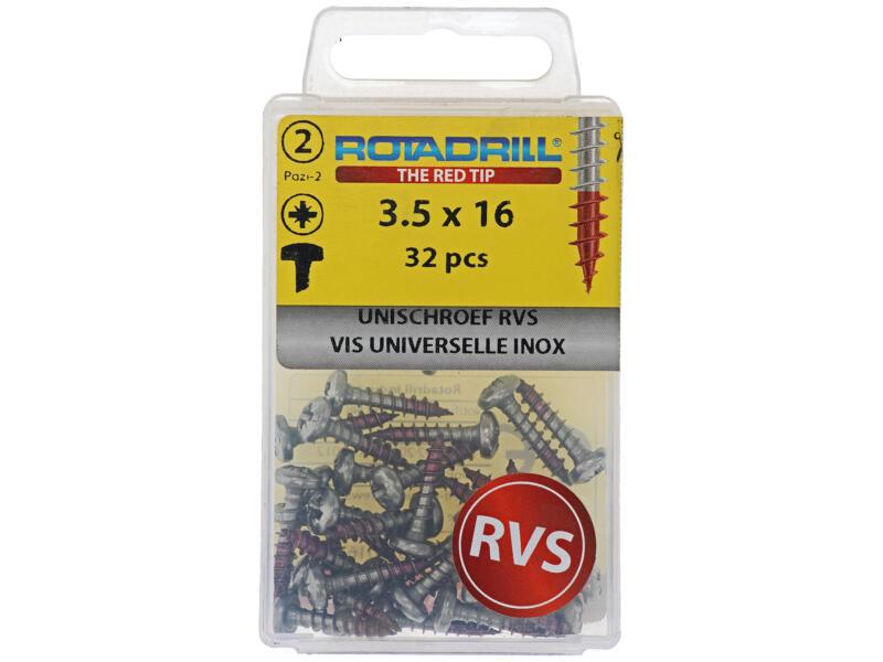 Rotadrill universele schroeven PZ2 3,5x16 mm inox 32 stuks