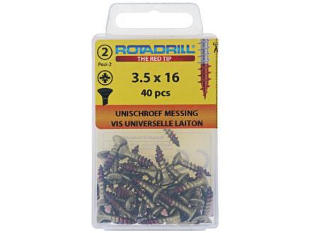 Rotadrill universele schroeven PZ2 3,5x16 mm messing 40 stuks