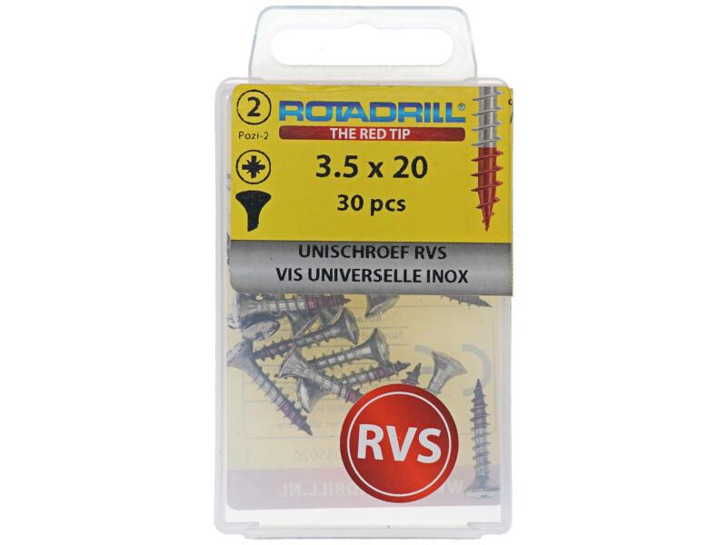 Rotadrill universele schroeven PZ2 3,5x20 mm inox 30 stuks