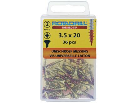 Rotadrill universele schroeven PZ2 3,5x20 mm messing 36 stuks