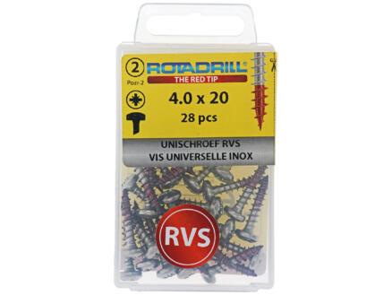 Rotadrill universele schroeven PZ2 4x20 mm inox 28 stuks