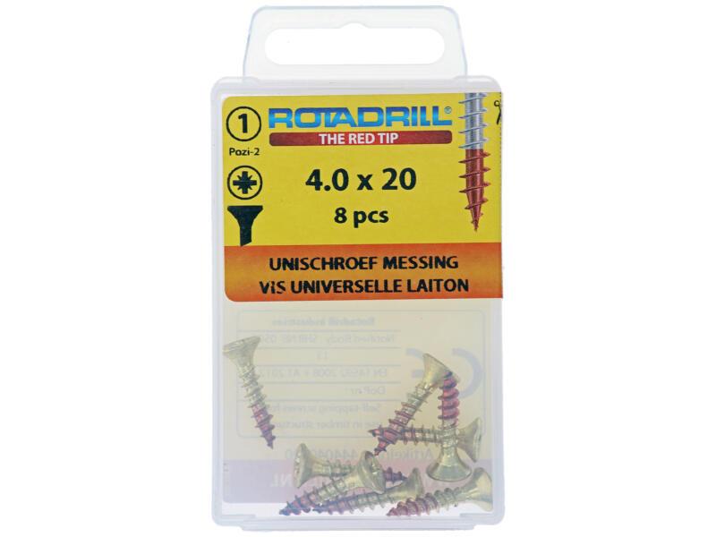 Rotadrill universele schroeven PZ2 4x20 mm messing 8 stuks