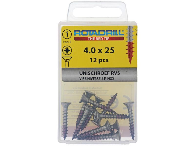 Rotadrill universele schroeven PZ2 4x25 mm inox 12 stuks
