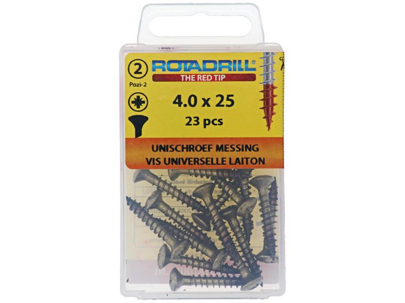 Rotadrill universele schroeven PZ2 4x25 mm messing 23 stuks