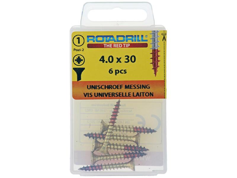 Rotadrill universele schroeven PZ2 4x30 mm messing 6 stuks
