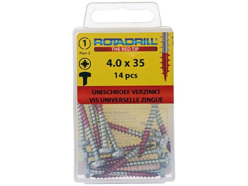 Rotadrill universele schroeven PZ2 4x35 mm staal 14 stuks