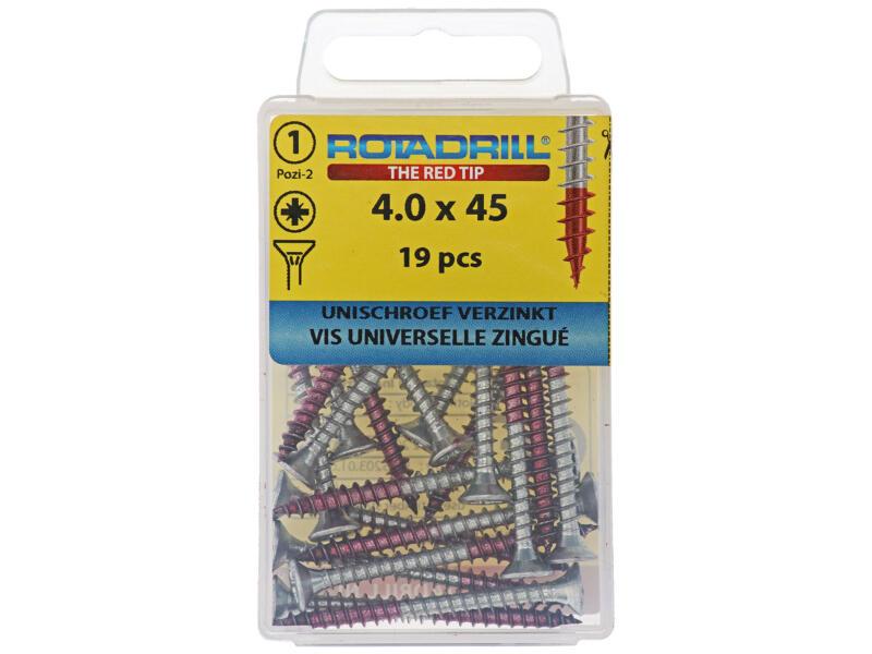 Rotadrill universele schroeven PZ2 4x45 mm verzinkt 19 stuks