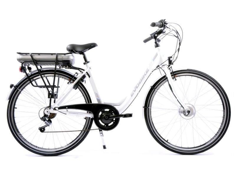 Evobike vélo électrique femme moteur roue avant blanc