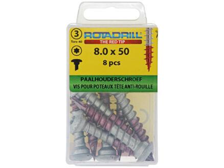 Rotadrill vis autoforante pour support de poteau TX40 50x8 mm 8 pièces