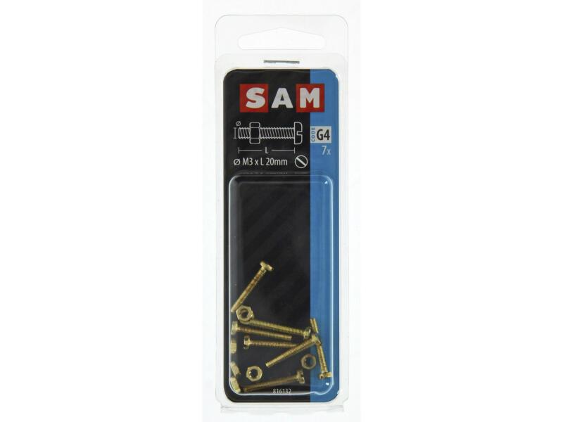 Sam vis métal avec écrou 20x3 mm laiton 7 pièces