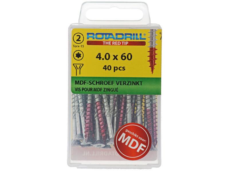 Rotadrill vis poour MDF TX15 vis 60x4 mm galvanisé 40 pièces