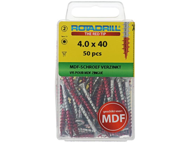 Rotadrill vis pour MDF TX15 40x4 mm galvanisé 50 pièces