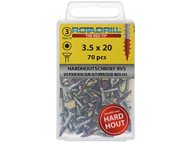 Rotadrill vis pour bois dur TX15 20x3,5 mm inox 70 pièces