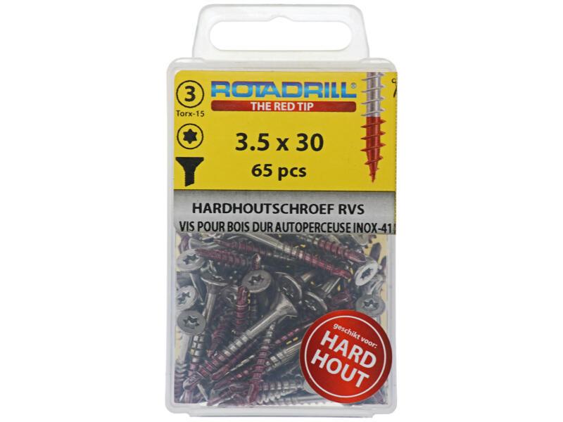 Rotadrill vis pour bois dur TX15 30x3,5 mm inox 65 pièces