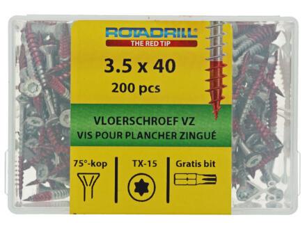 Rotadrill vis pour plancher TX15 40x3,5 mm galvanisé 200 pièces