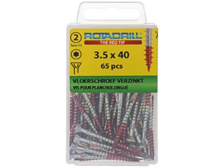 Rotadrill vis pour plancher TX15 40x3,5 mm galvanisé 65 pièces